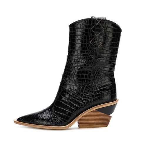 Cowboy Heeled Wedge Boots