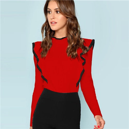 Red Top With Ruffles