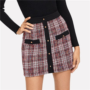 Button Up Tweed Skirt