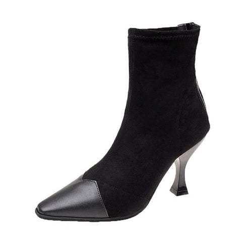 Contrasted Toe Pointy Boots