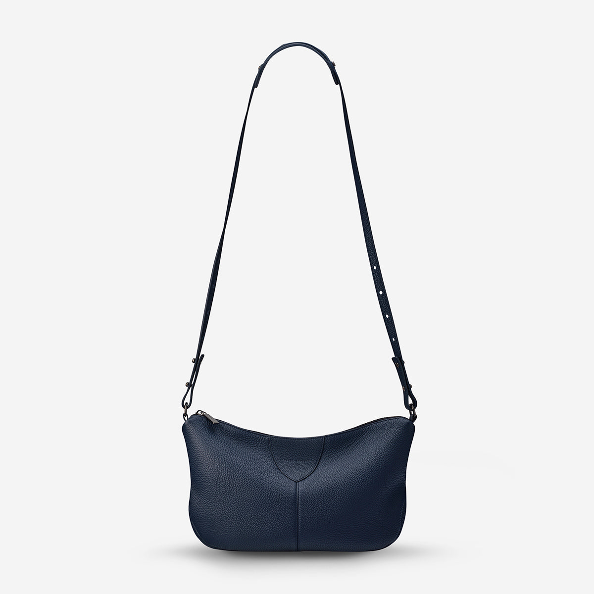 Status Anxiety At A Loss Women's Leather Crossbody Slouch Bag - Navy Blue