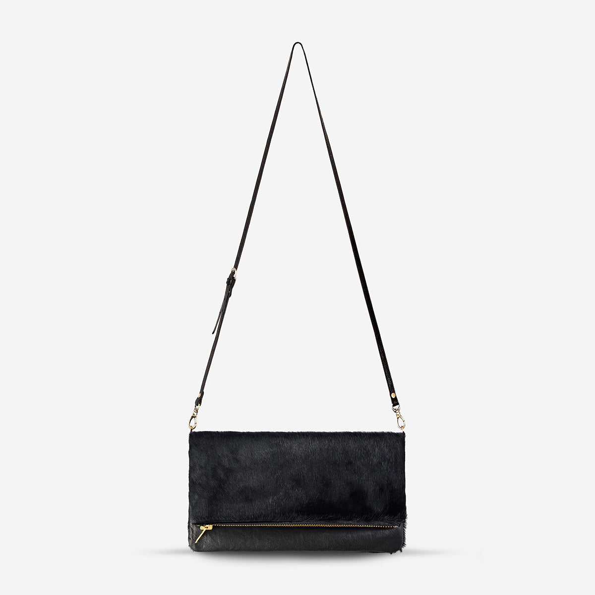 Status Anxiety Gwyneth Fur Bag - Black/Black Fur