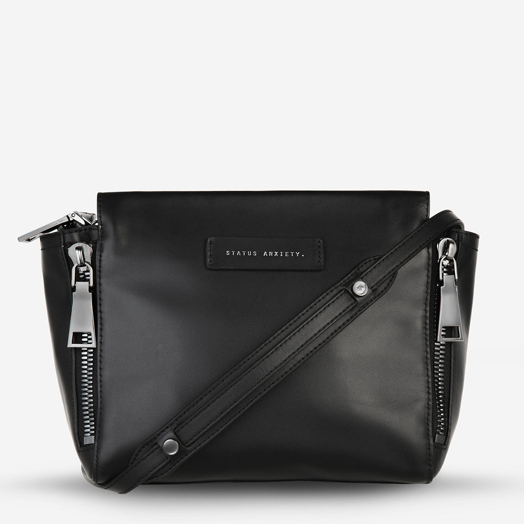 The ascendants womens black leather bag status anxiety official