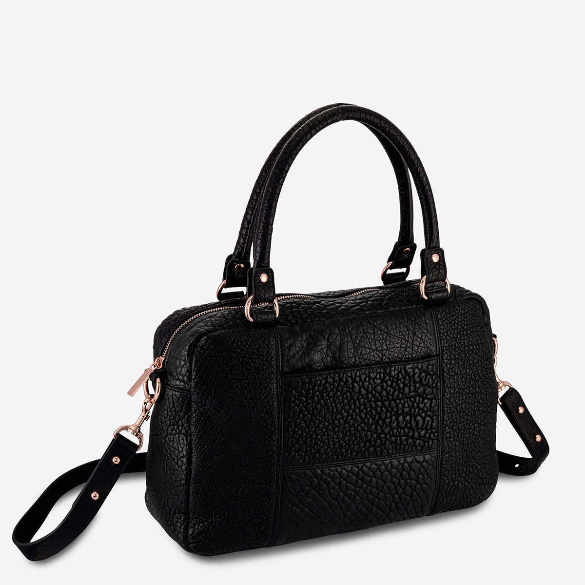 Status Anxiety War With Obvious Women's Leather Bag - Black Bubble