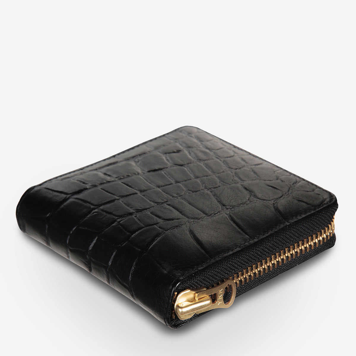 Status Anxiety Empire Leather Wallet - Black Croc