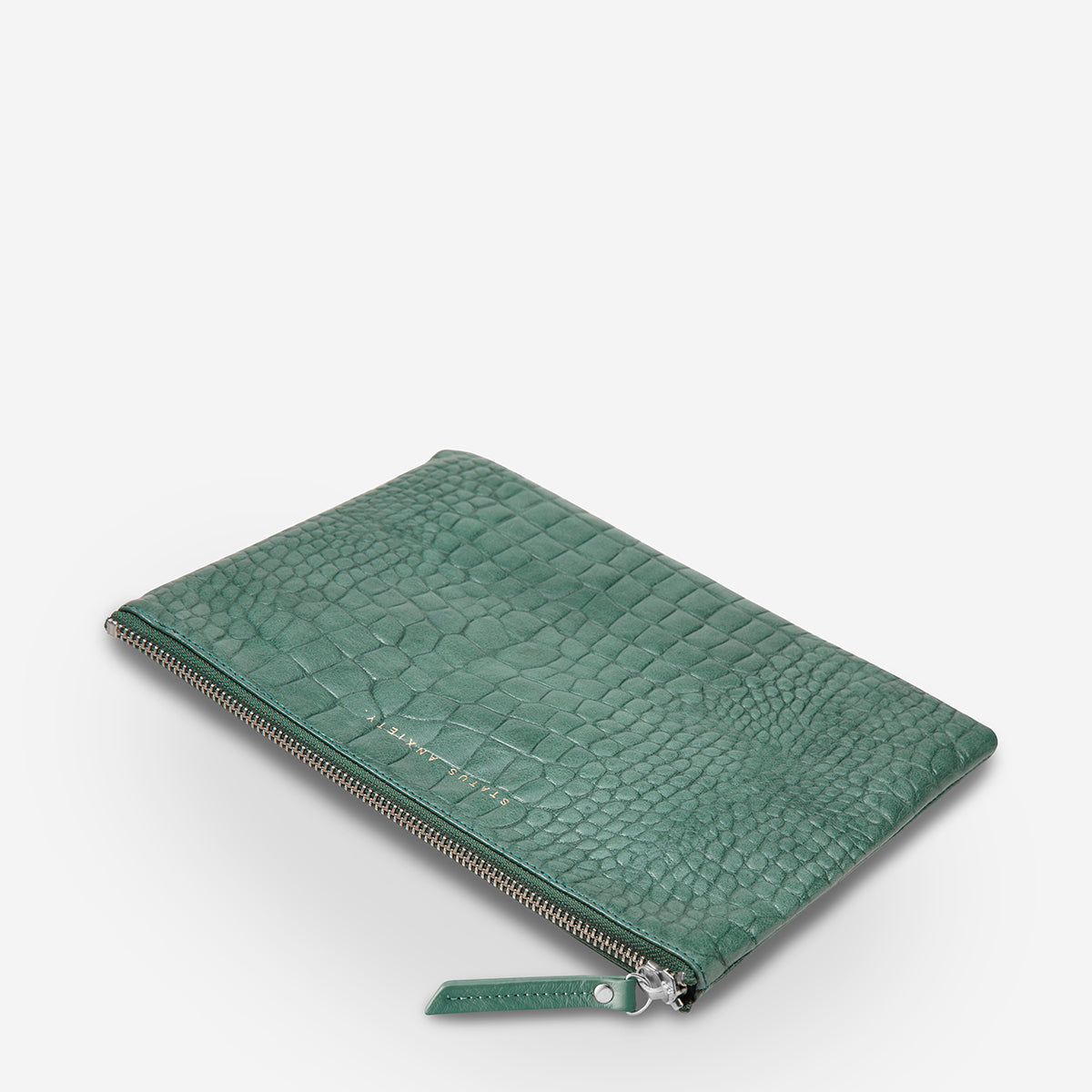 Status Anxiety Fake It Women's Leather Clutch Pouch - Teal Croc Emboss