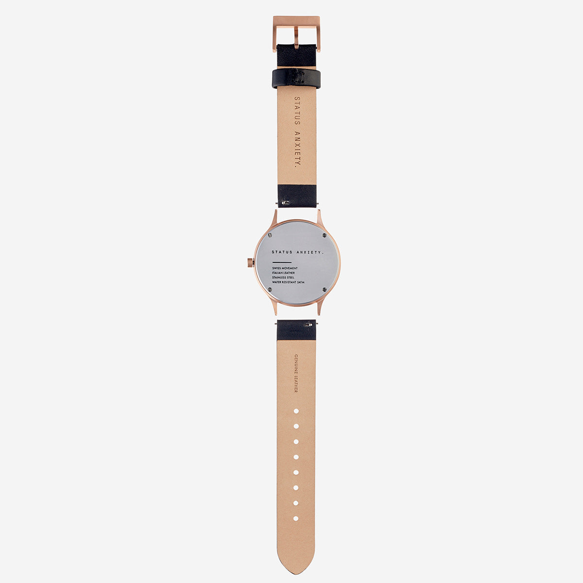 Status Anxiety Inertia Leather Unisex Watch - Copper/White Face/Black Strap