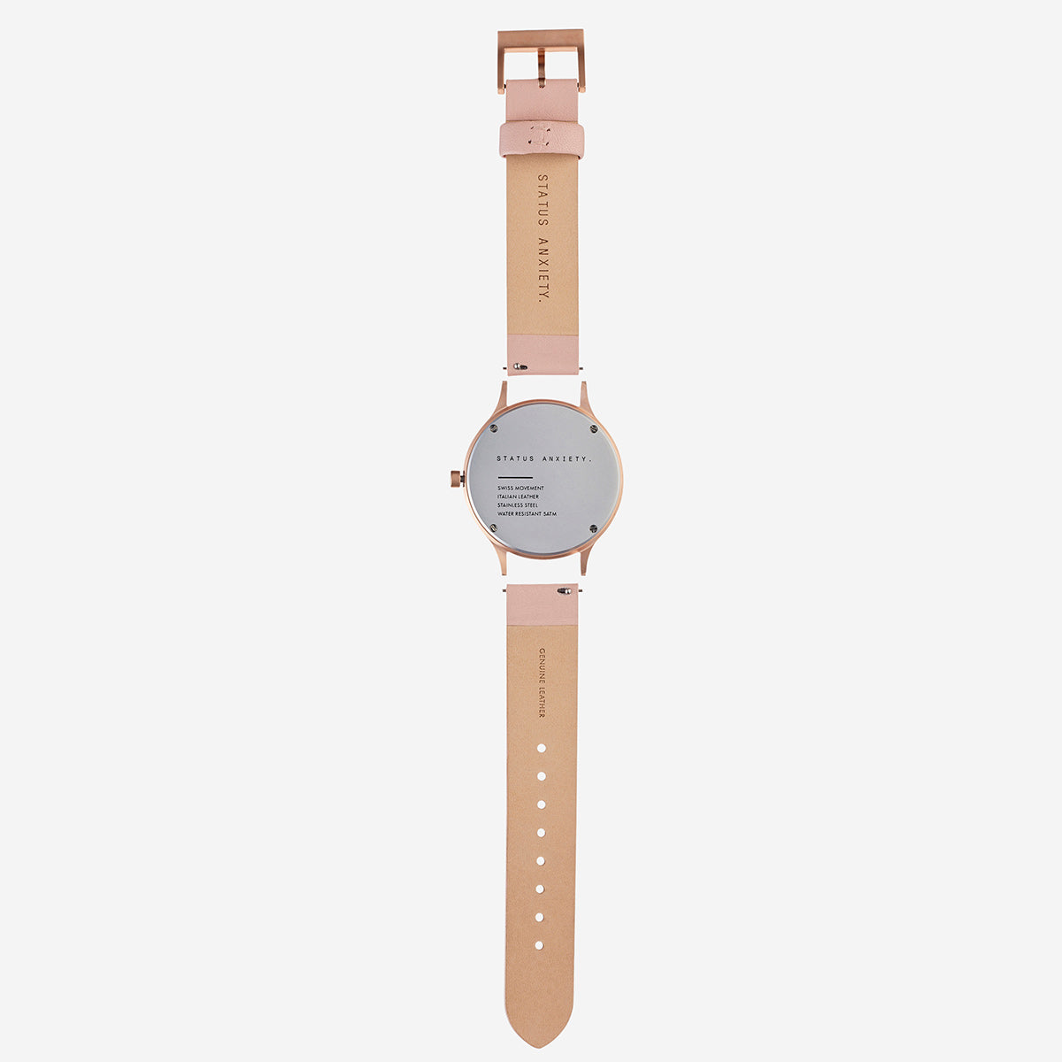 Status Anxiety Inertia Leather Unisex Watch - Copper/White Face/Blush Strap
