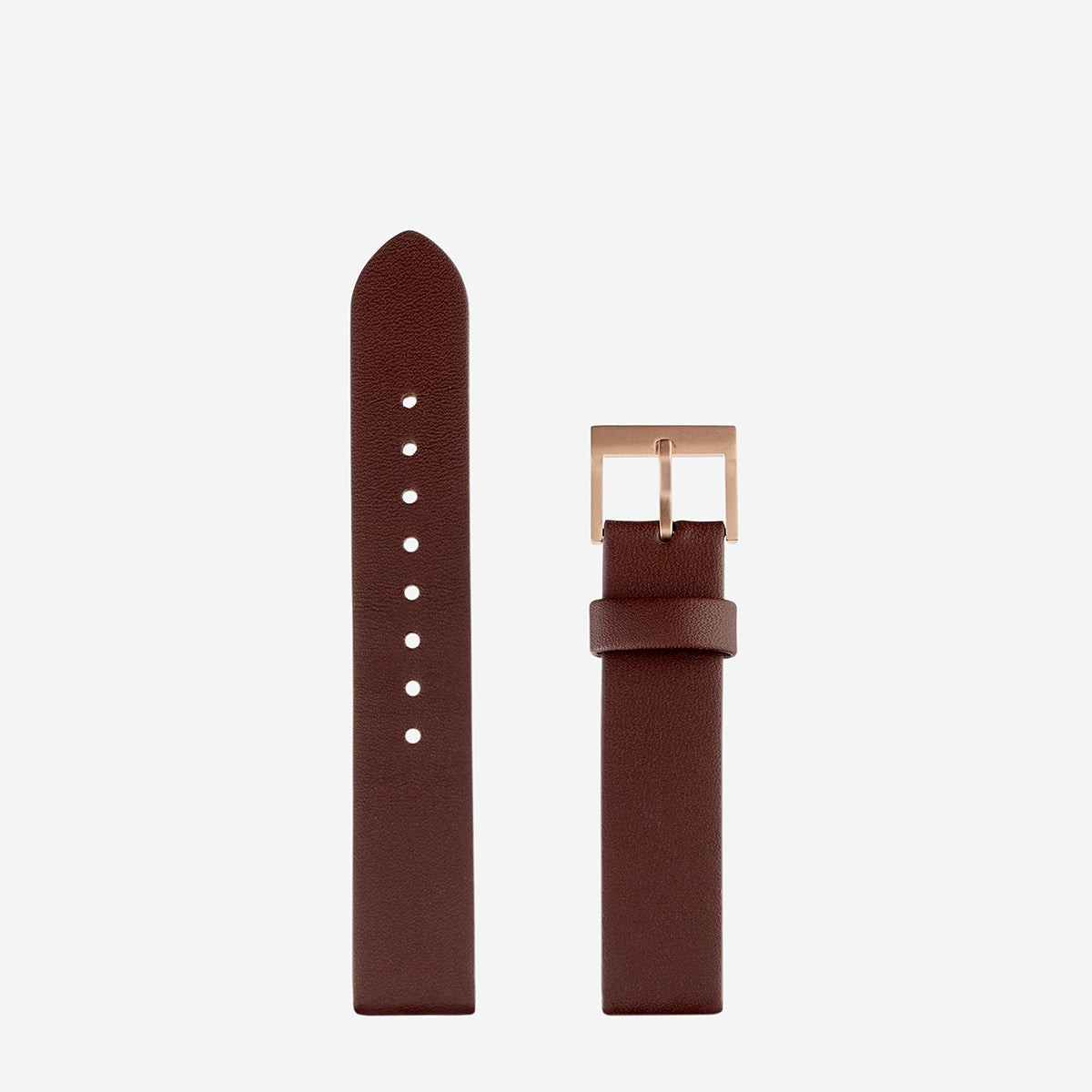 Status Anxiety Inertia Leather Unisex Watch Strap (Only)- Brown Strap/Brushed Copper Buckle