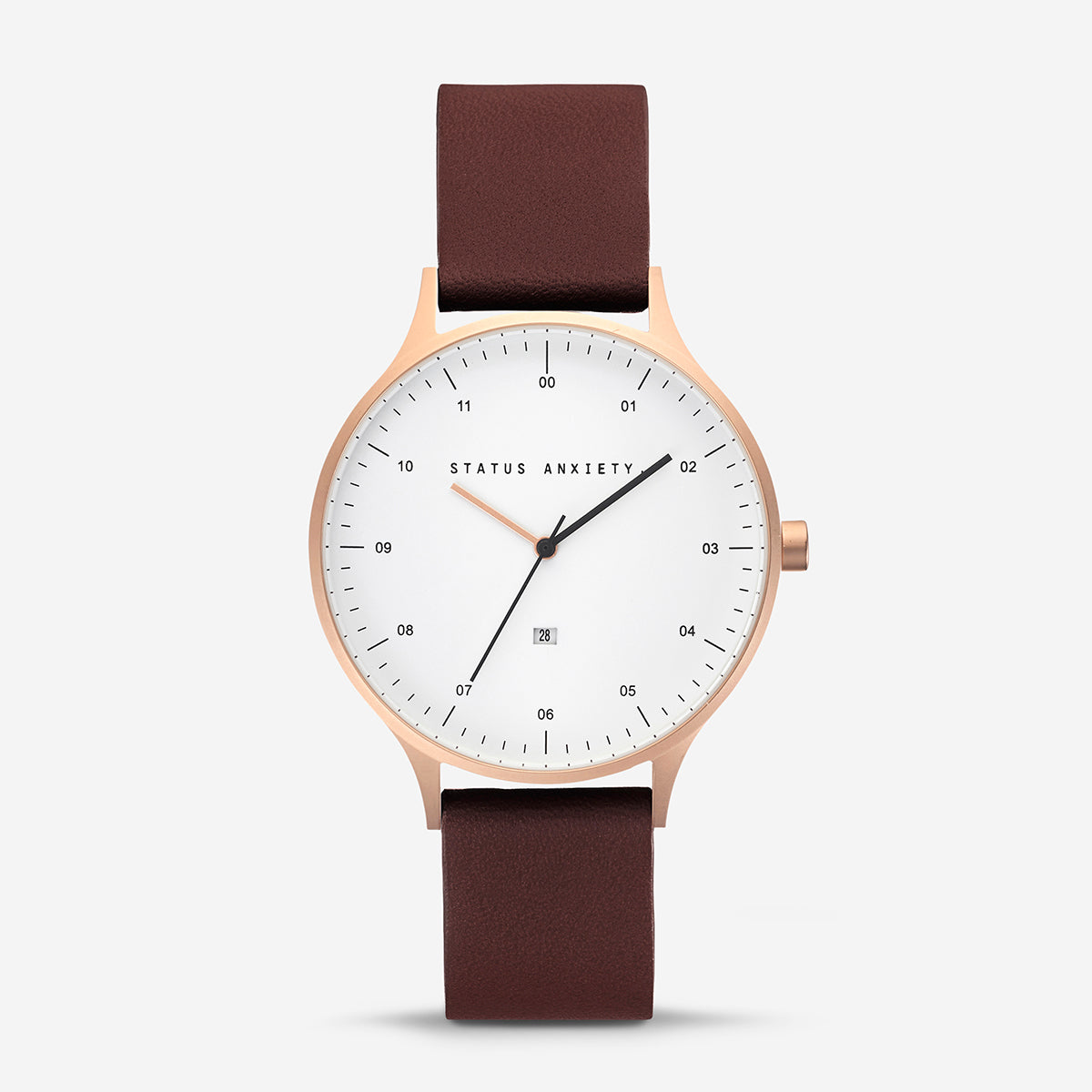 Status Anxiety Inertia Leather Unisex Watch - Copper/White Face/Brown Strap