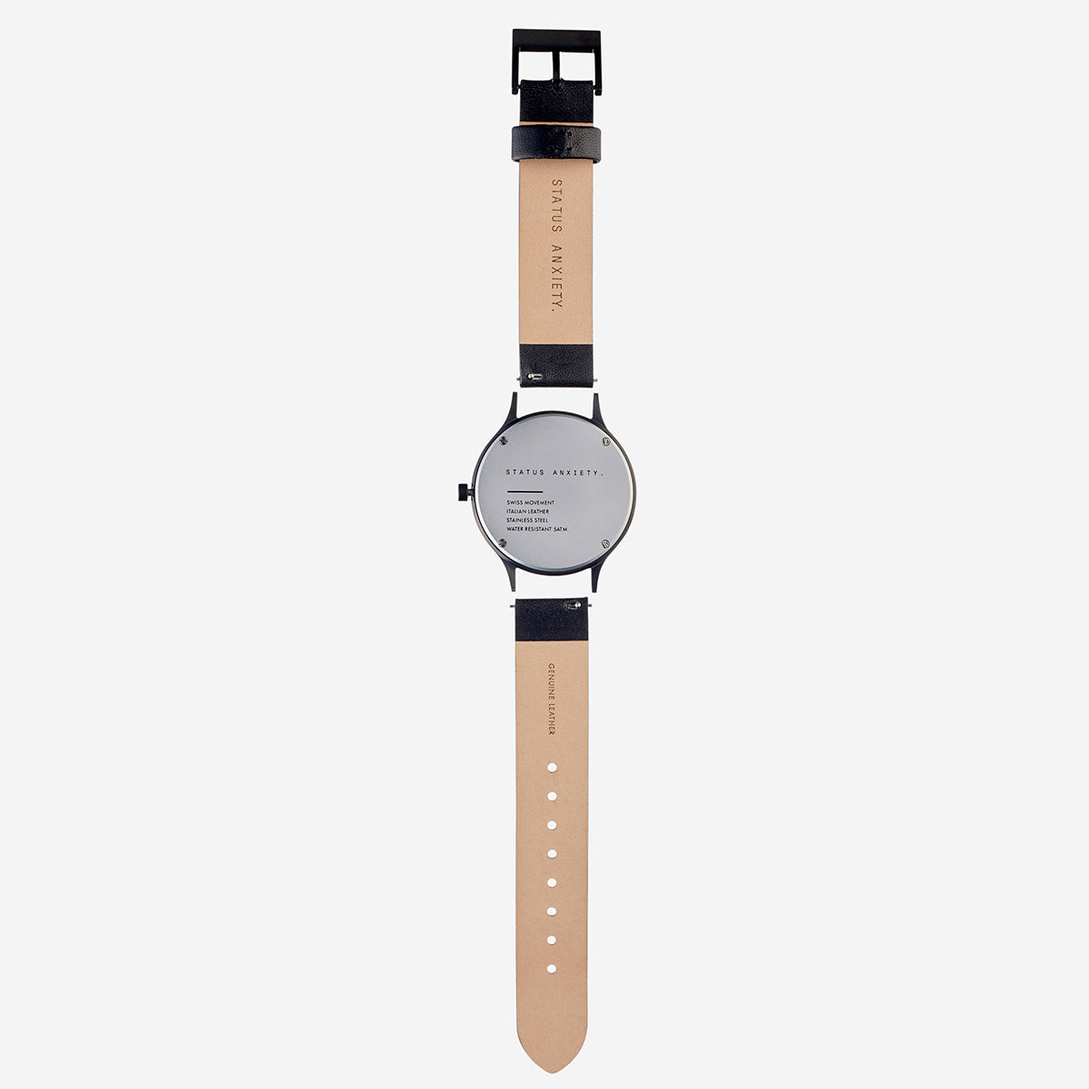 Status Anxiety Inertia Leather Unisex Watch Strap (Only)- Black Strap/Black Buckle
