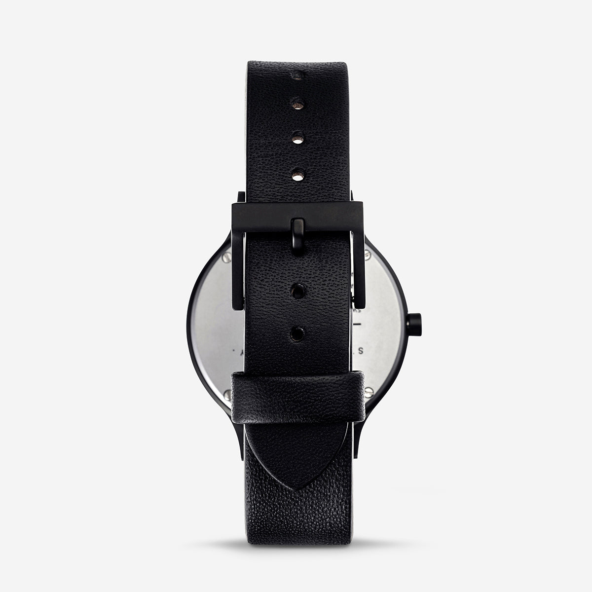 Status Anxiety Inertia Leather Unisex Watch - Black Face/Black Strap