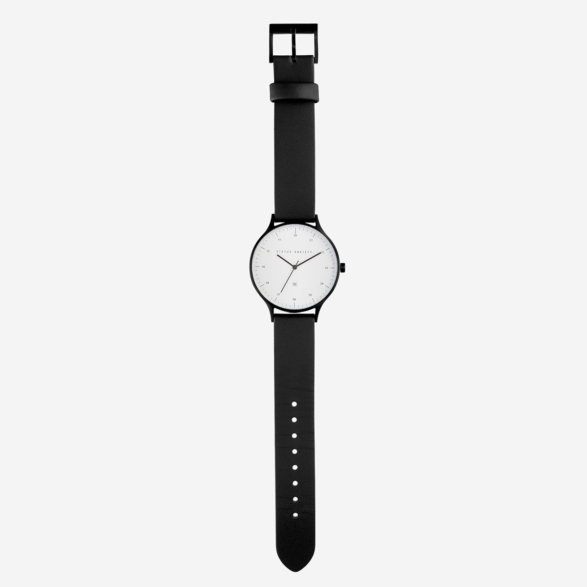 Status Anxiety Inertia Leather Unisex Watch - White Face/Black Strap