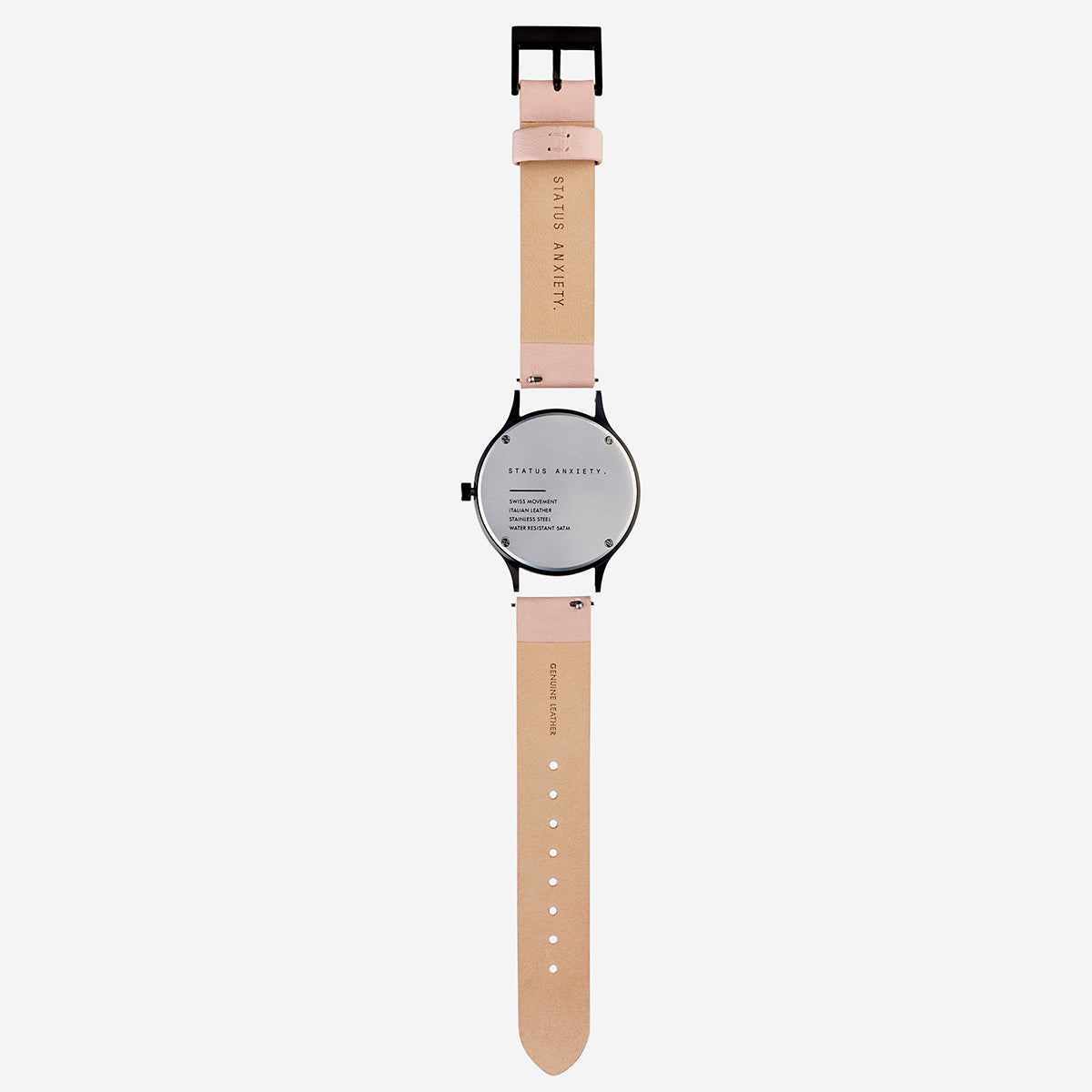 Status Anxiety Inertia Leather Unisex Watch Strap (Only)- Blush Strap/Matte Black Buckle
