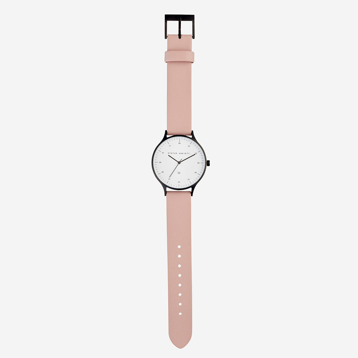 Status Anxiety Inertia Leather Unisex Watch - Matte Black/White Face/Blush Strap