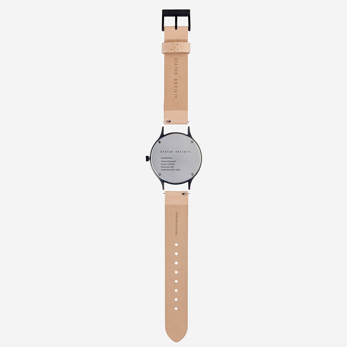 Status Anxiety Inertia Leather Unisex Watch Strap (Only)- Natural Strap/Matte Black Buckle