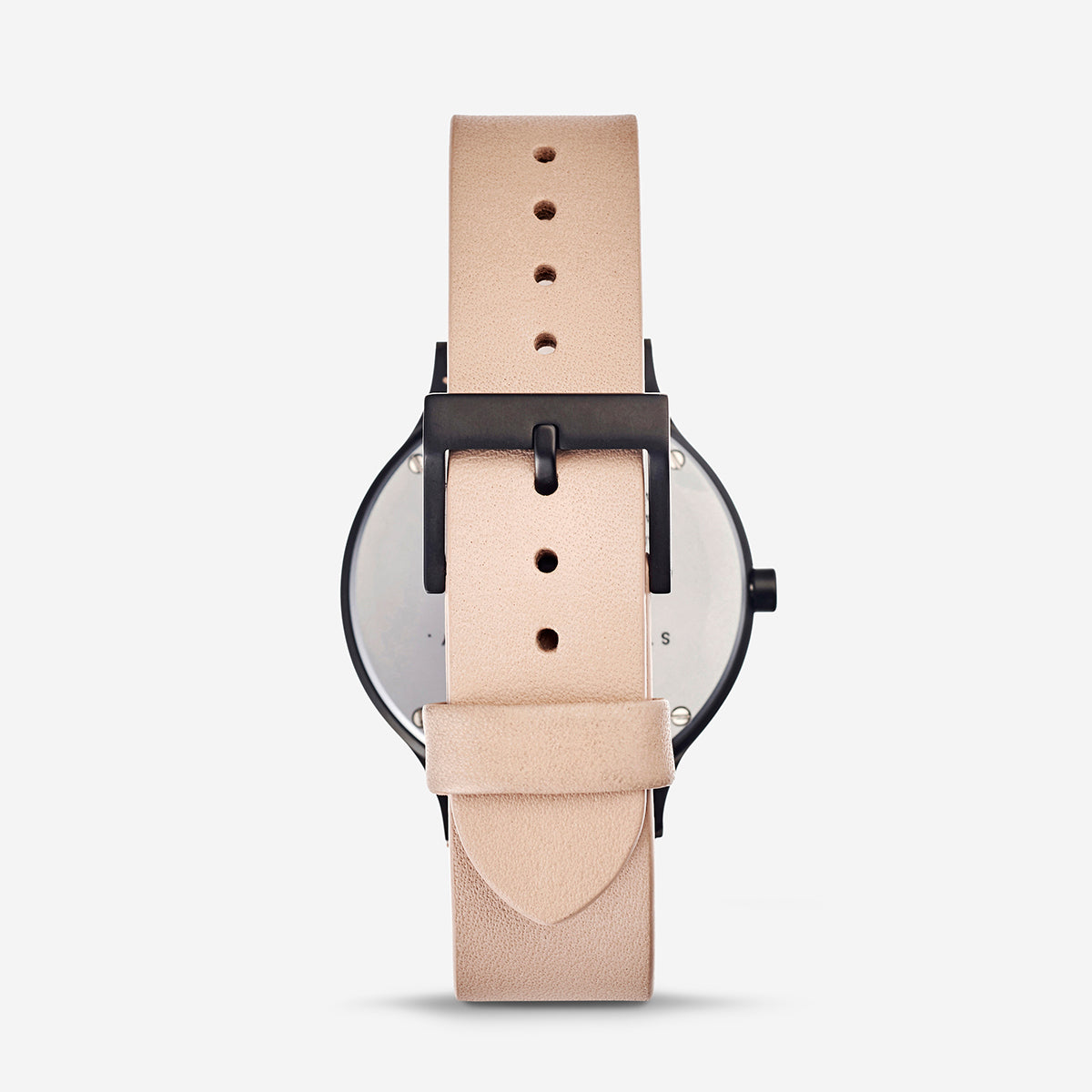 Status Anxiety Inertia Leather Unisex Watch - Matte Black/White Face/Natural Strap