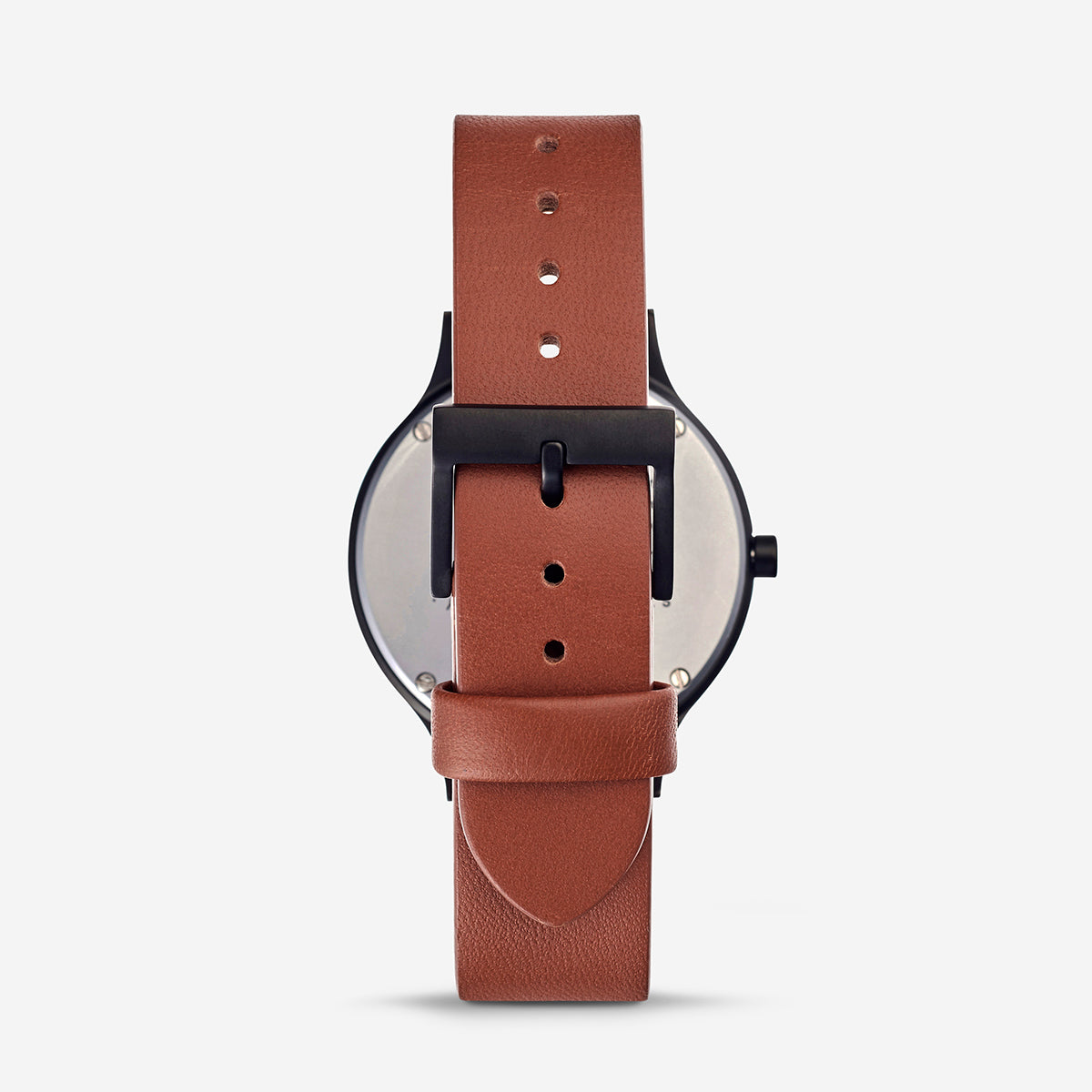Status Anxiety Inertia Leather Unisex Watch - White Face/Tan Strap