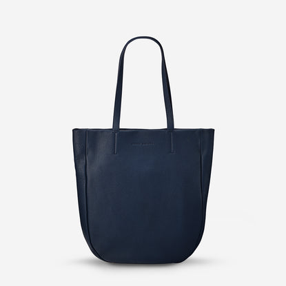 Status Anxiety Appointed Women s Large Leather Tote Bag - Navy Blue