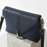 Status Anxiety Exile Women's Leather Crossbody Bag Navy Blue