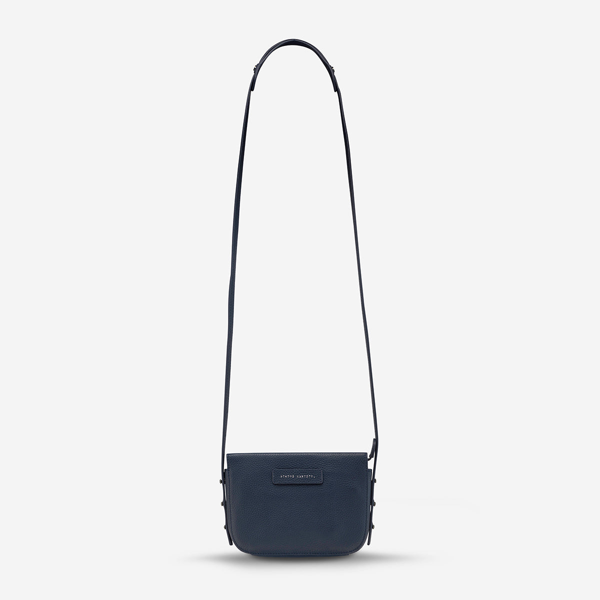 Status Anxiety In Her Command Women's Leather Crossbody Bag - Navy Blue