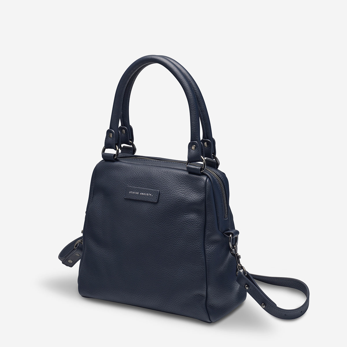 Status Anxiety Last Mountains Women's Leather Handbag - Navy Blue