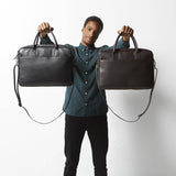 Status Anxiety Risking All Unisex Leather Satchel and Laptop Bag - Black