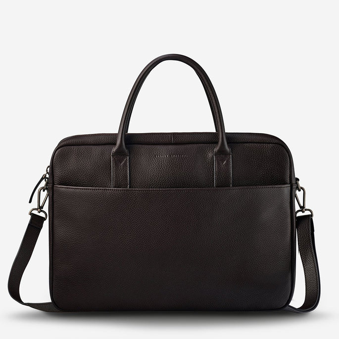 Status Anxiety Risking All Unisex Leather Satchel and Laptop Bag - Chocolate