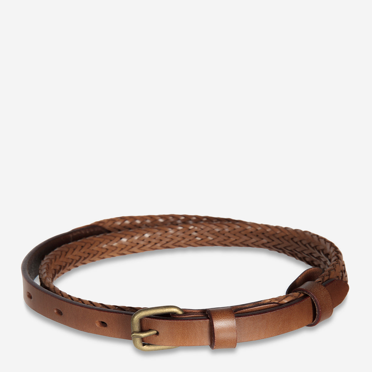 Status Anxiety Only Lovers Left Women's Leather Belt - Tan Plaited