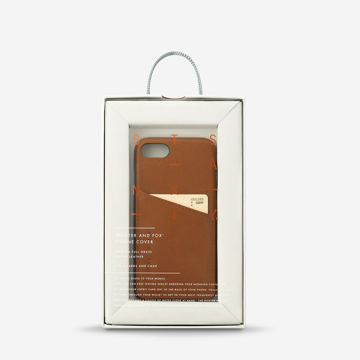 Status Anxiety Hunter and Fox Leather Phone Case Tan
