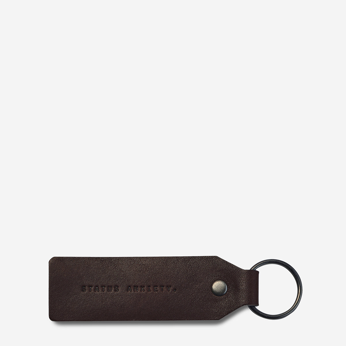 Status Anxiety If I Stay Genuine Leather Keyring - Chocolate