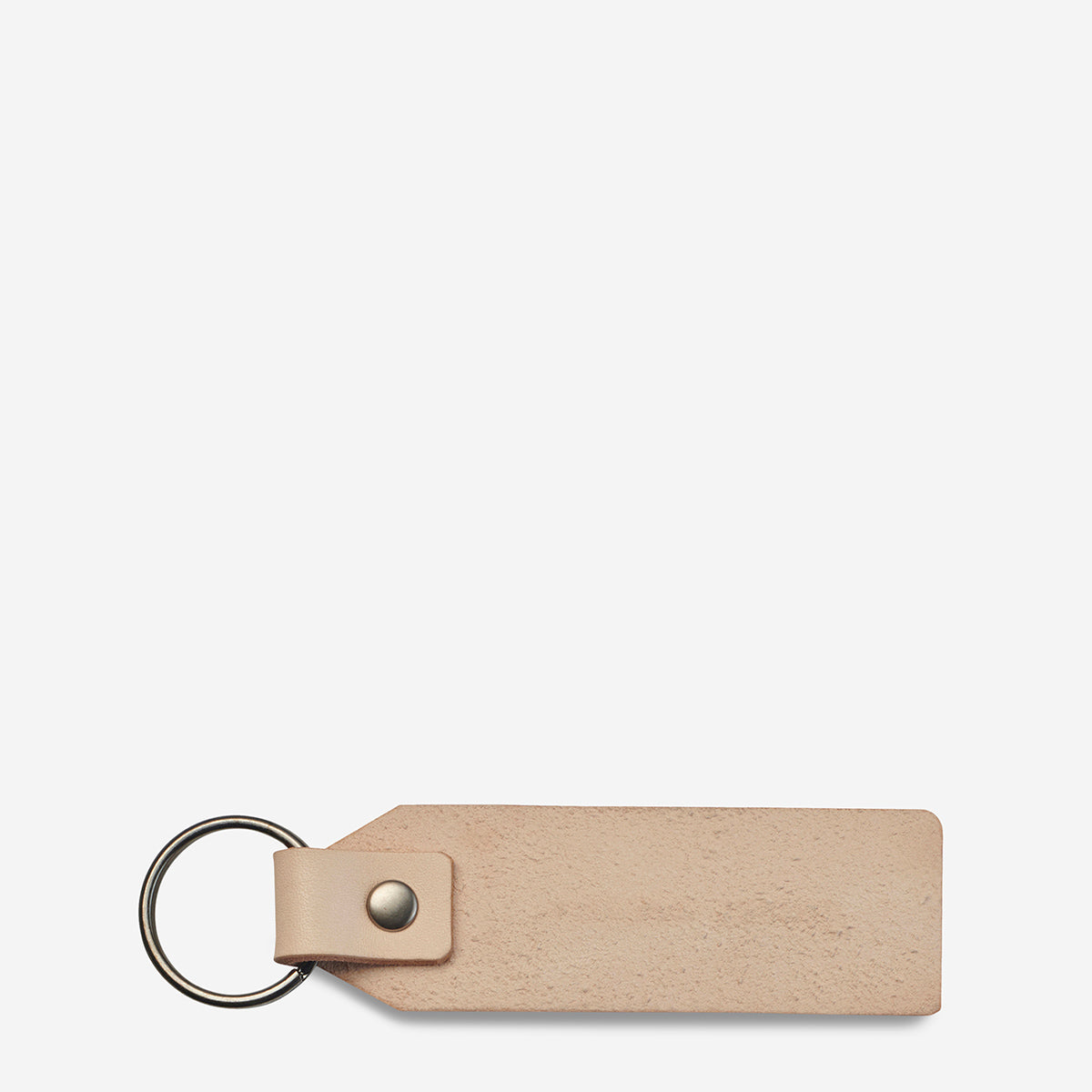 Status Anxiety If I Stay Genuine Leather Keyring - Tan