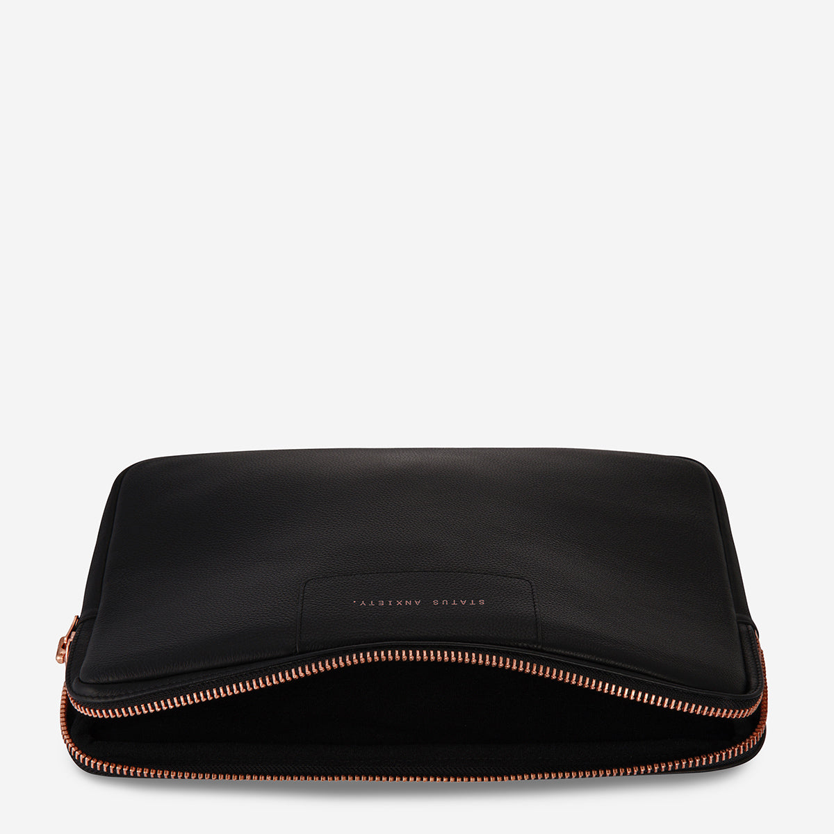 Status Anxiety Before I Leave Leather Laptop Case - Black/Rose Gold