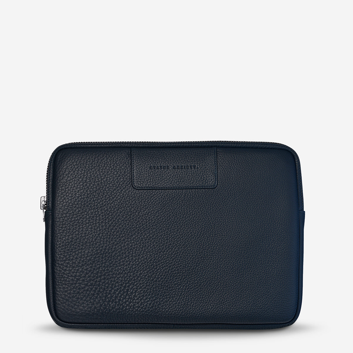 Status Anxiety Before I Leave Leather Laptop Case Navy Blue