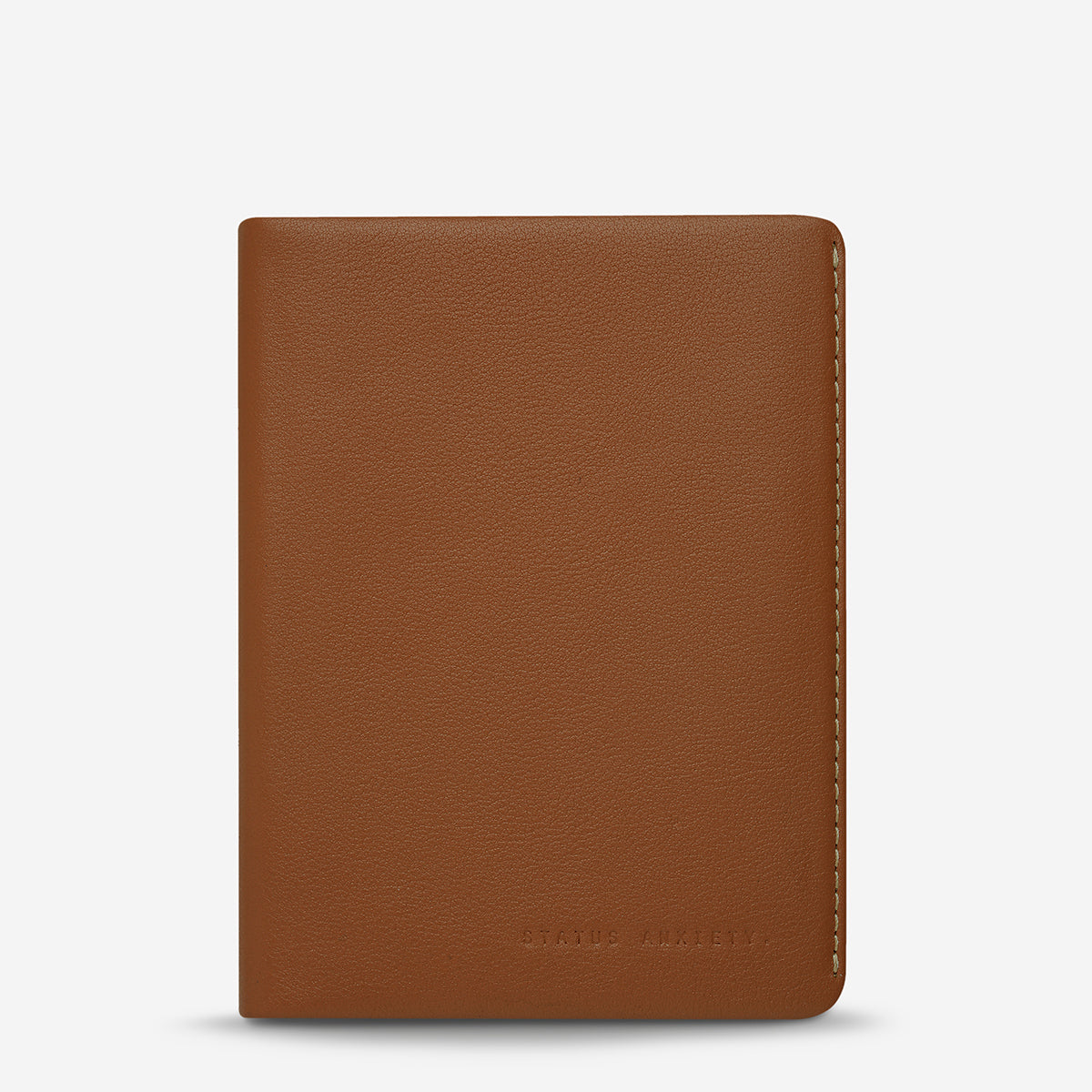 Status Anxiety Conquest Leather Passport Wallet - Camel