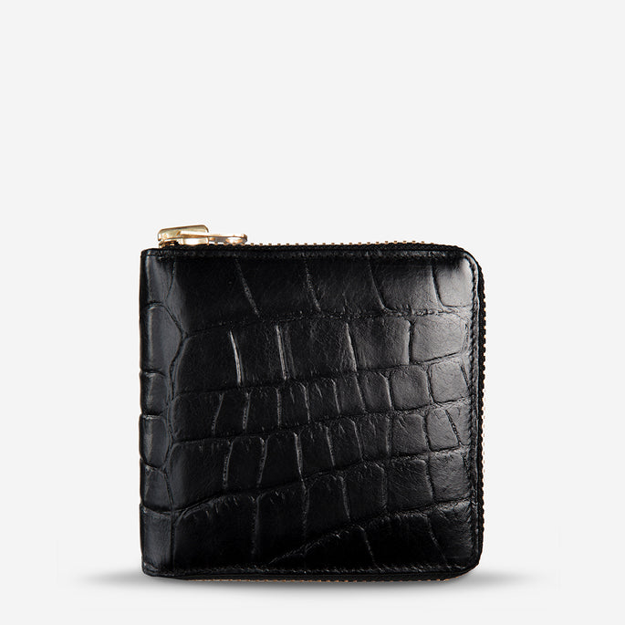Status Anxiety Empire Women's Leather Wallet - Black Croc