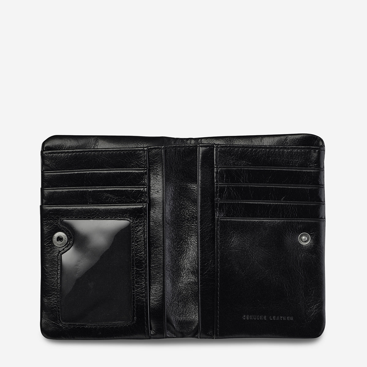 Status Anxiety Is Now Better Women's Compact Leather Wallet - Black