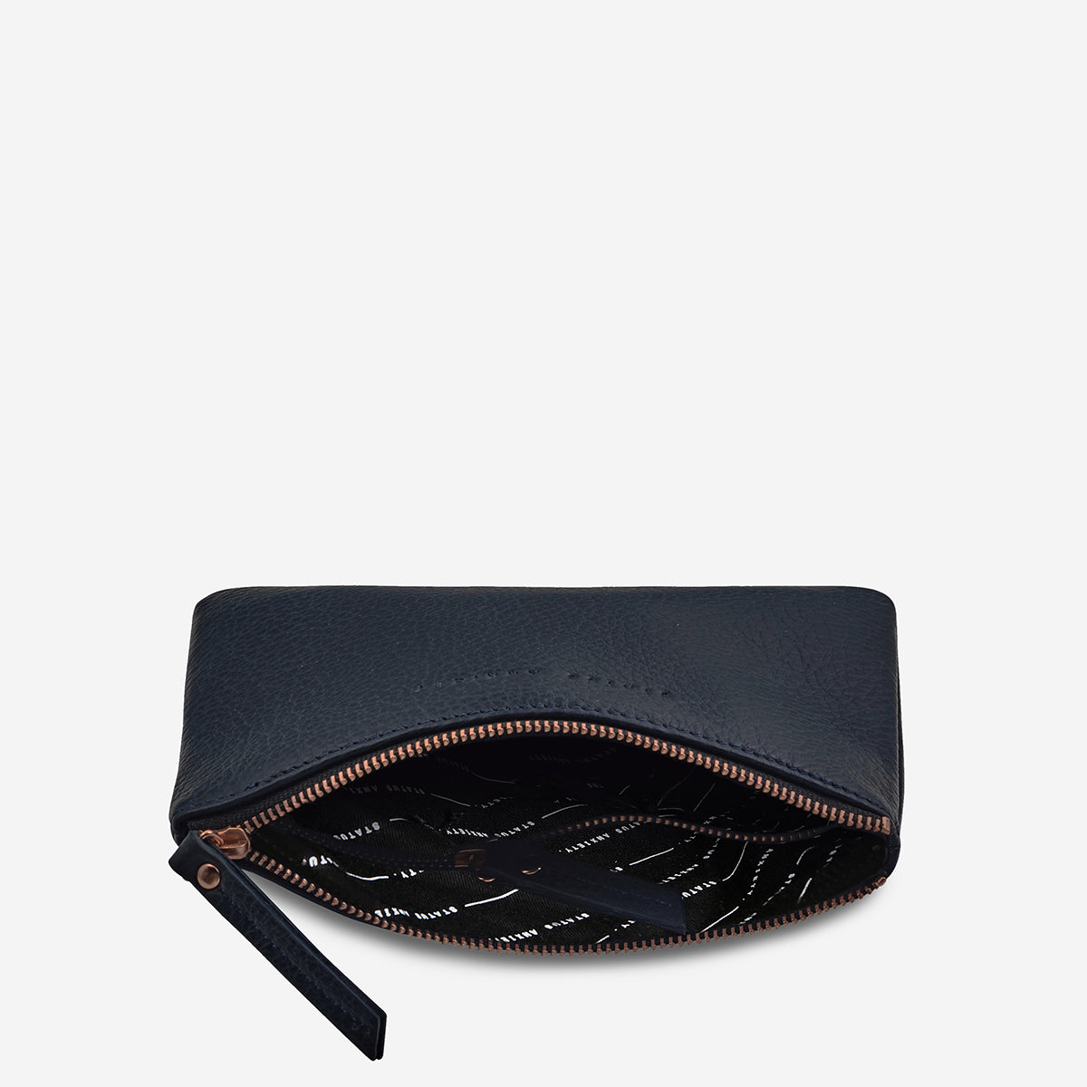 Status Anxiety Treacherous Leather Pouch - Navy Blue