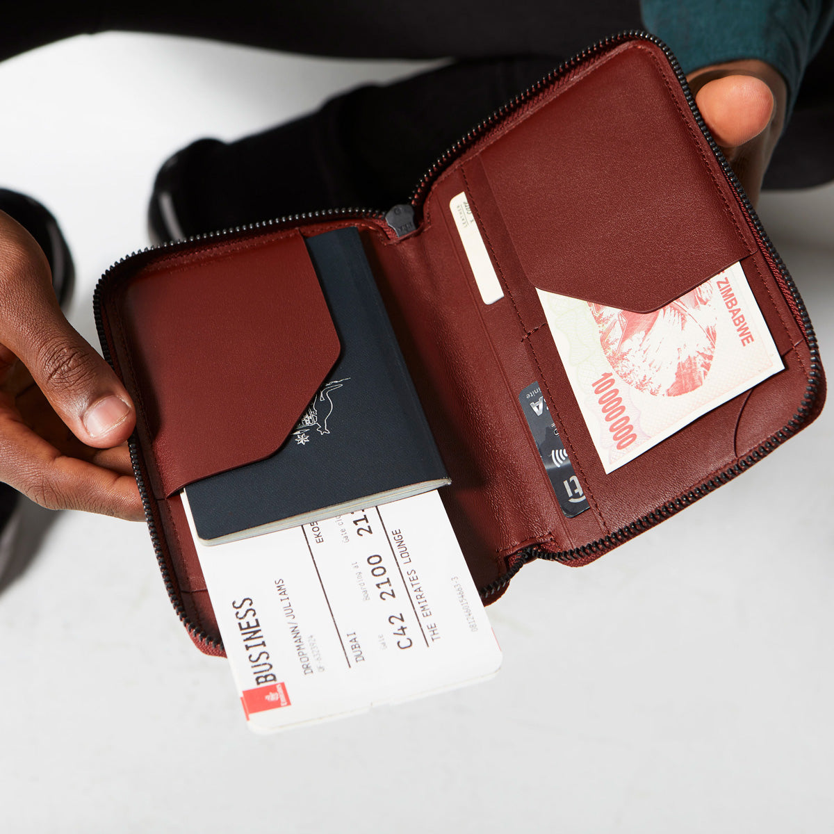 Status Anxiety Leather Travel Wallet Vow Cognac