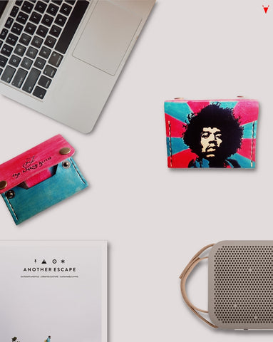 Custom Made Leather Wallet Jimi Hendrix The Naked Alien