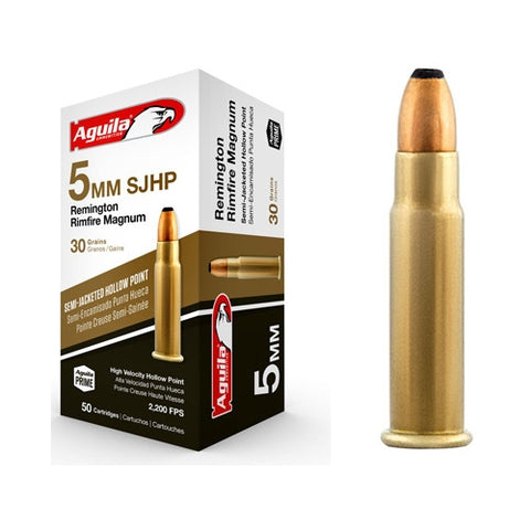 Aguila 5mm Rem Rimfire Magnum 30 Gr Semi-Jacketed HP (50)