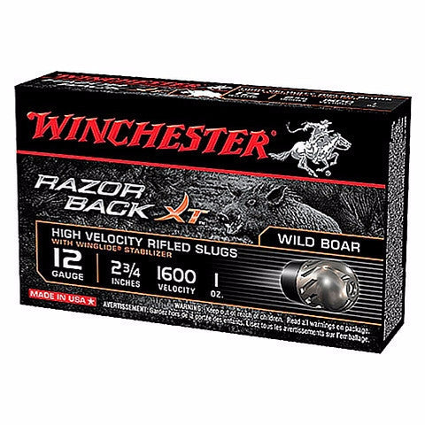 "Winchester 12 Ga Razor Back XT Rifled Slugs 2 3/4"" 5 Pack"