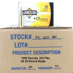 Armscor USA 223 Rem 55 Grain FMJ 1000 Rnd Case