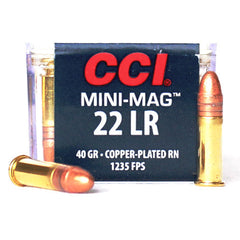 CCI MINI MAG 22 LR High Velocity Copper Coated RN 40 Grain 030 100 Rounds