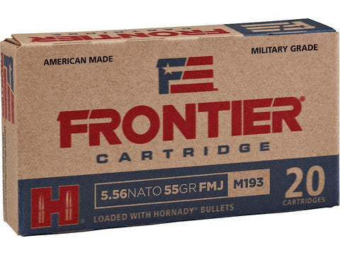 Frontier Cartridge Military Grade Ammunition 5.56 NATO 55 Gr Hornady FMJ (M193)