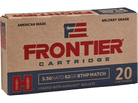 Frontier Cartridge Military Grade Ammunition 5.56 NATO 62 Gr Hornady BTHP MATCH
