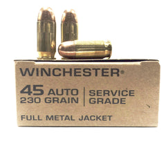 Winchester Service Grade 45 Auto 230 Grain Full Metal Jacket 50 pack