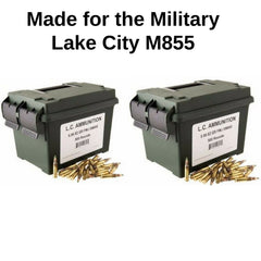 Lake City MIL SPEC M855 NATO 5.56 62 Gr Green Tip FMJ 1000 Rnd Can (2 cases of 500)