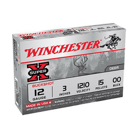 "Winchester Super-X 12 Gauge 3"" Copper-Plated Lead 15 Pellets 00 Buck 5 Round Box XB12300"