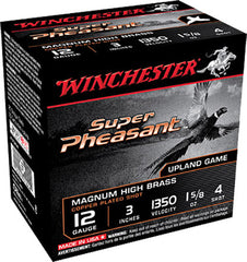 "Winchester Super Pheasant Plated HV 12 Gauge 3"" 1-5/8 oz 4 Shot 25 Round Box X123PH4"